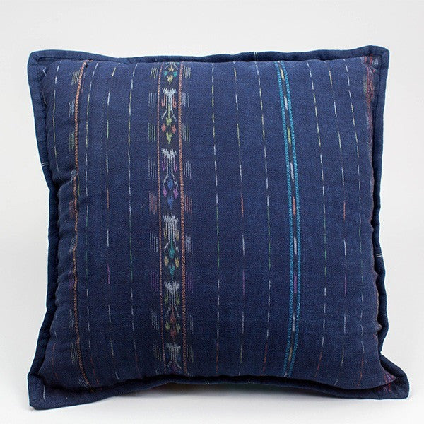 Indigo Patchwork Huipil Pillow