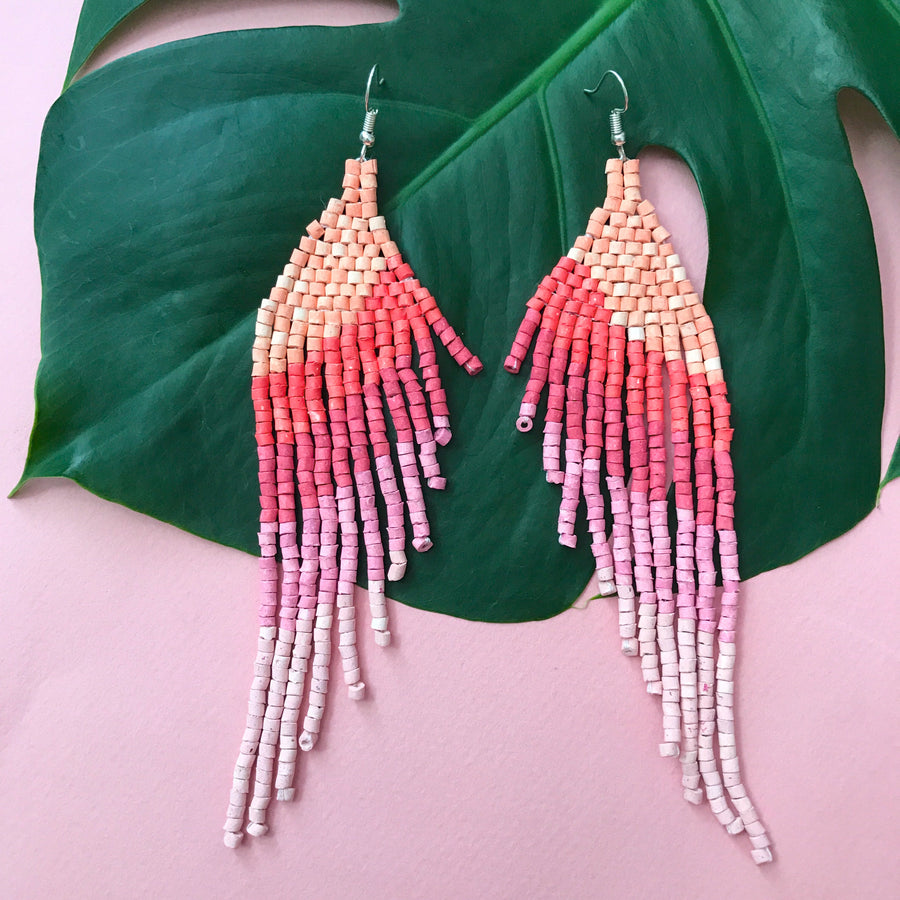 Beaded Earrings ~ Pale Pink