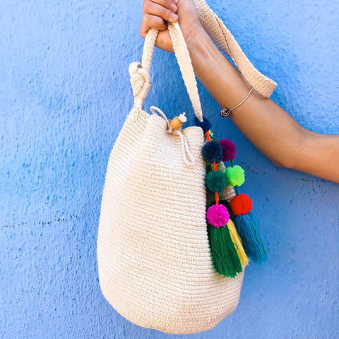 Bahia Bucket Bag Natural x Pom Pom