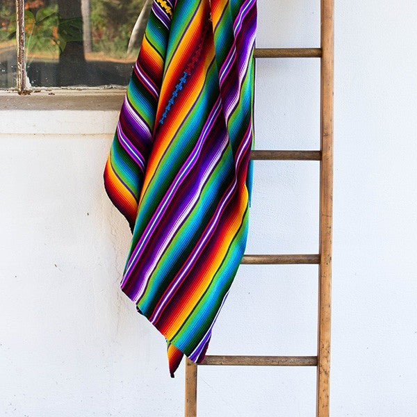 Sunzal Serape Blanket Purple Rainbow