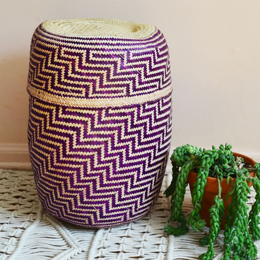 Oaxaca Casa Basket - Purple ZigZag