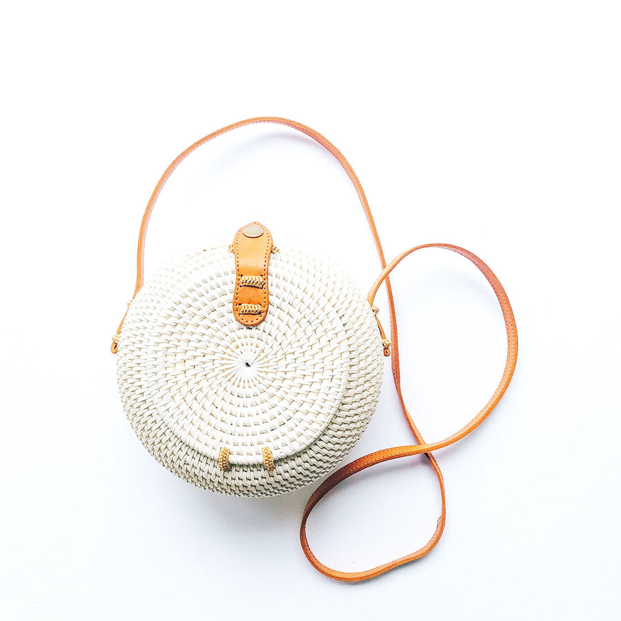 Rattan Roundie Crossbody White