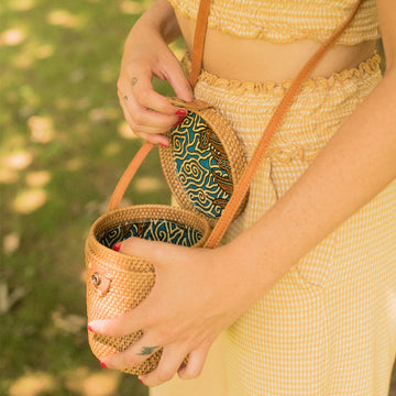 Rattan Bucket Crossbody