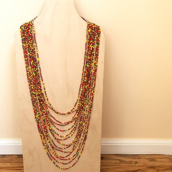 Viaje Glass Beaded Necklace Red Yellow Multi