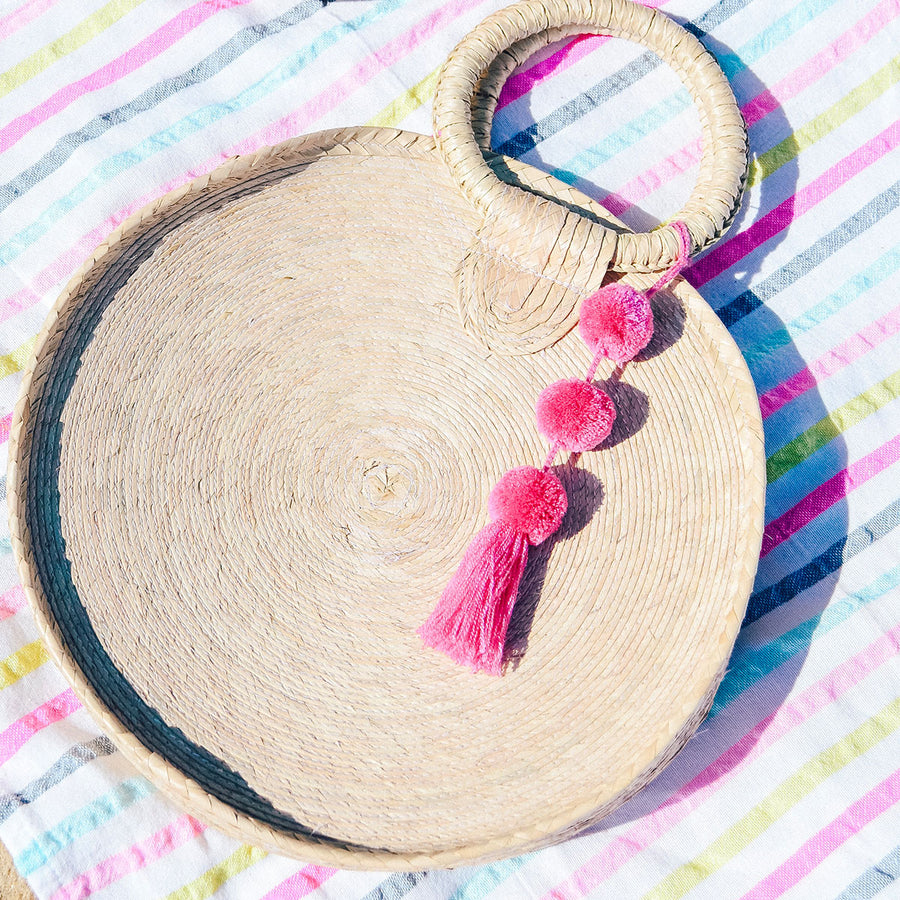 Redondo Palm Bag ~ Pink Pom Pom
