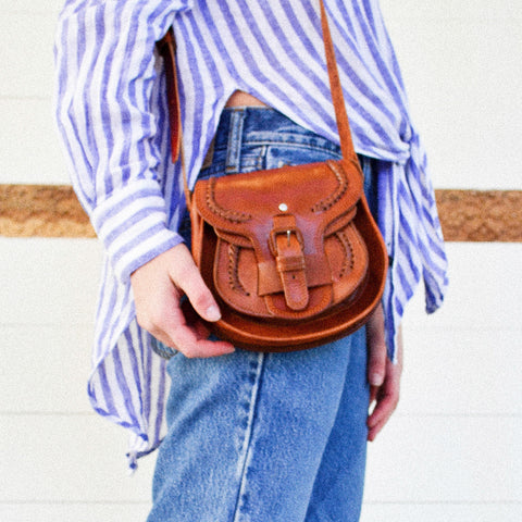 Double Pouch Leather Satchel