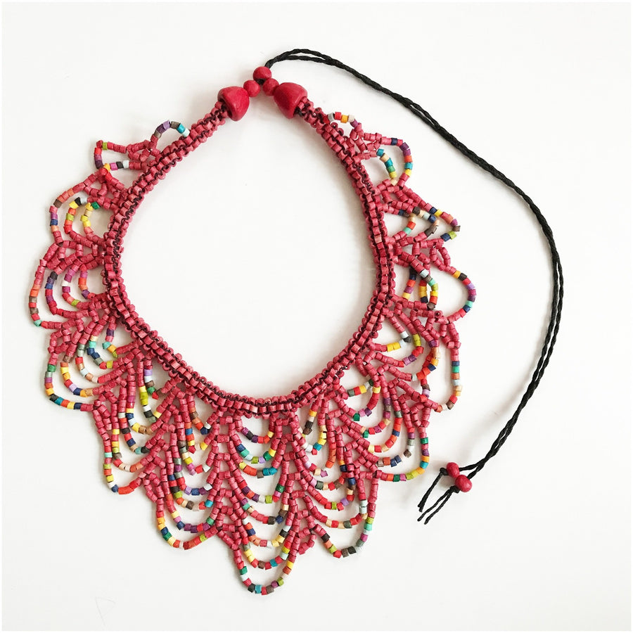 Scallop Necklace Red