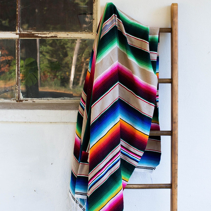 Escondido Serape Blanket Tan Multi
