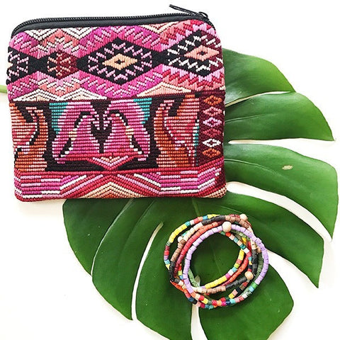 Small Huipil Pouch + Joanna Six Pack Stackable Bracelet Gift Set