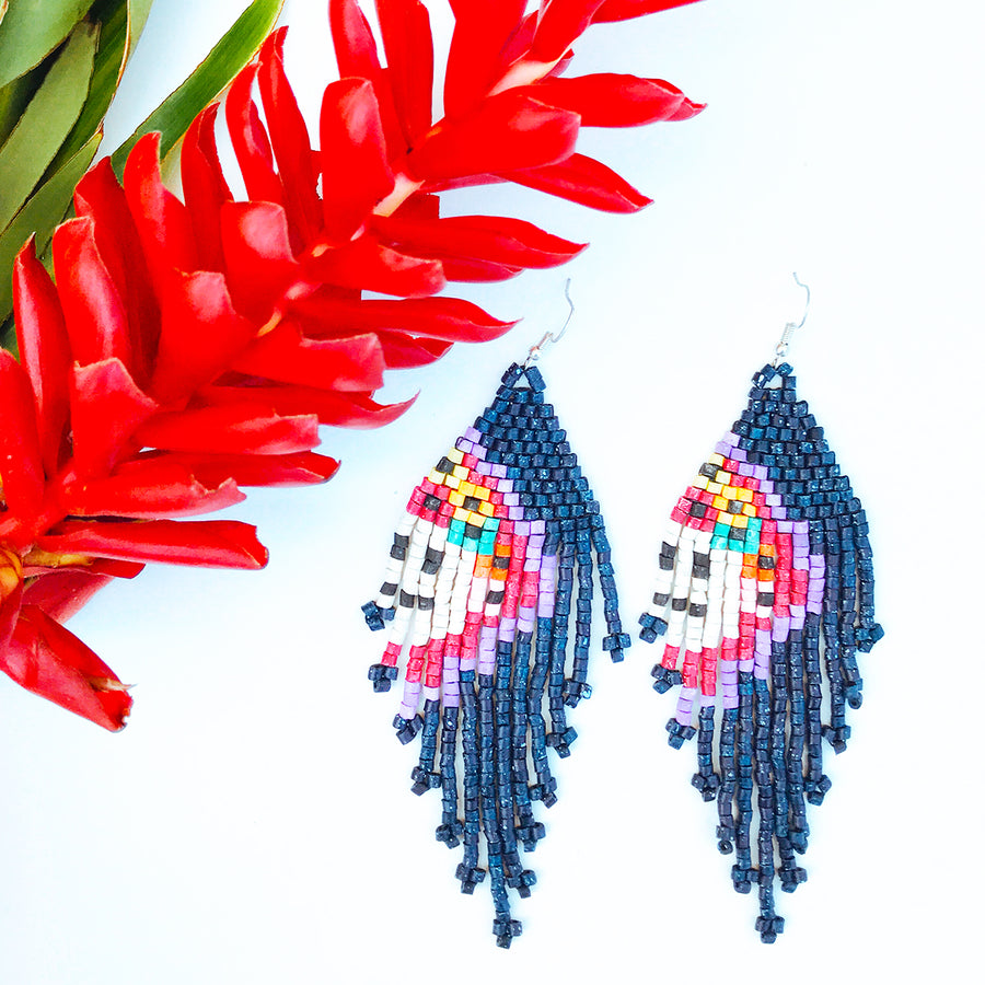 Beaded Earrings ~ Midnight Blossom