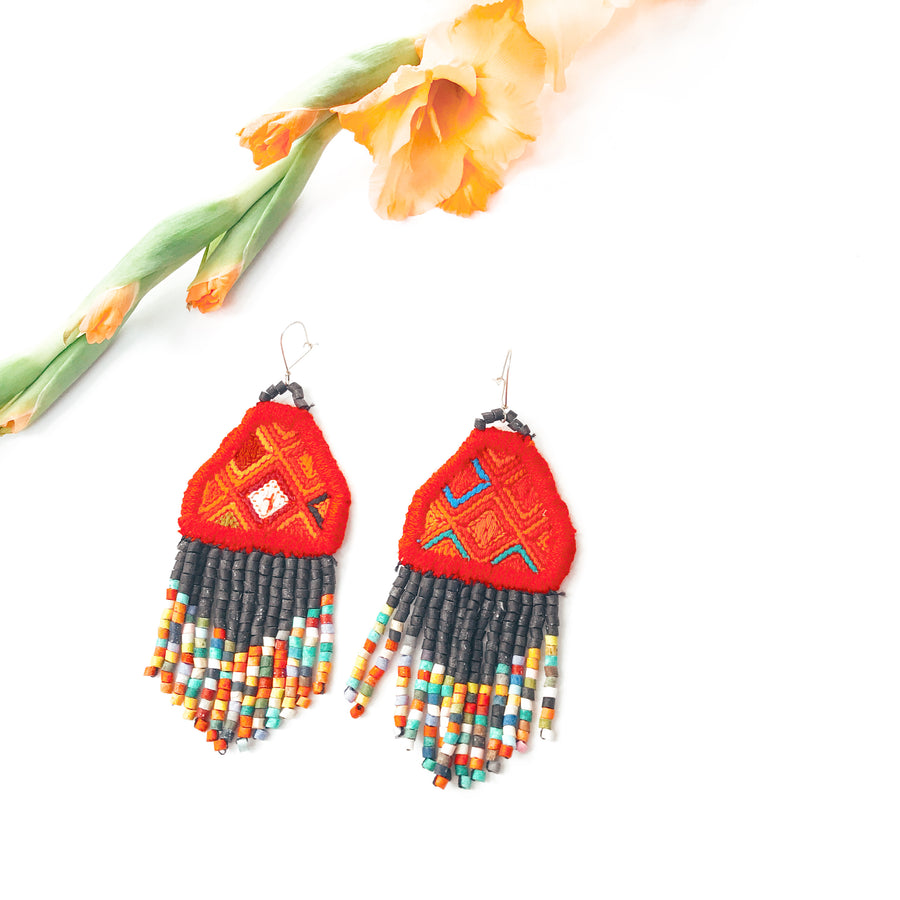 Textile Beaded Earrings ~ Lolita