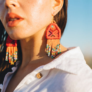 Textile Beaded Earrings ~ Lucia