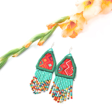 Textile Beaded Earrings ~ Jade