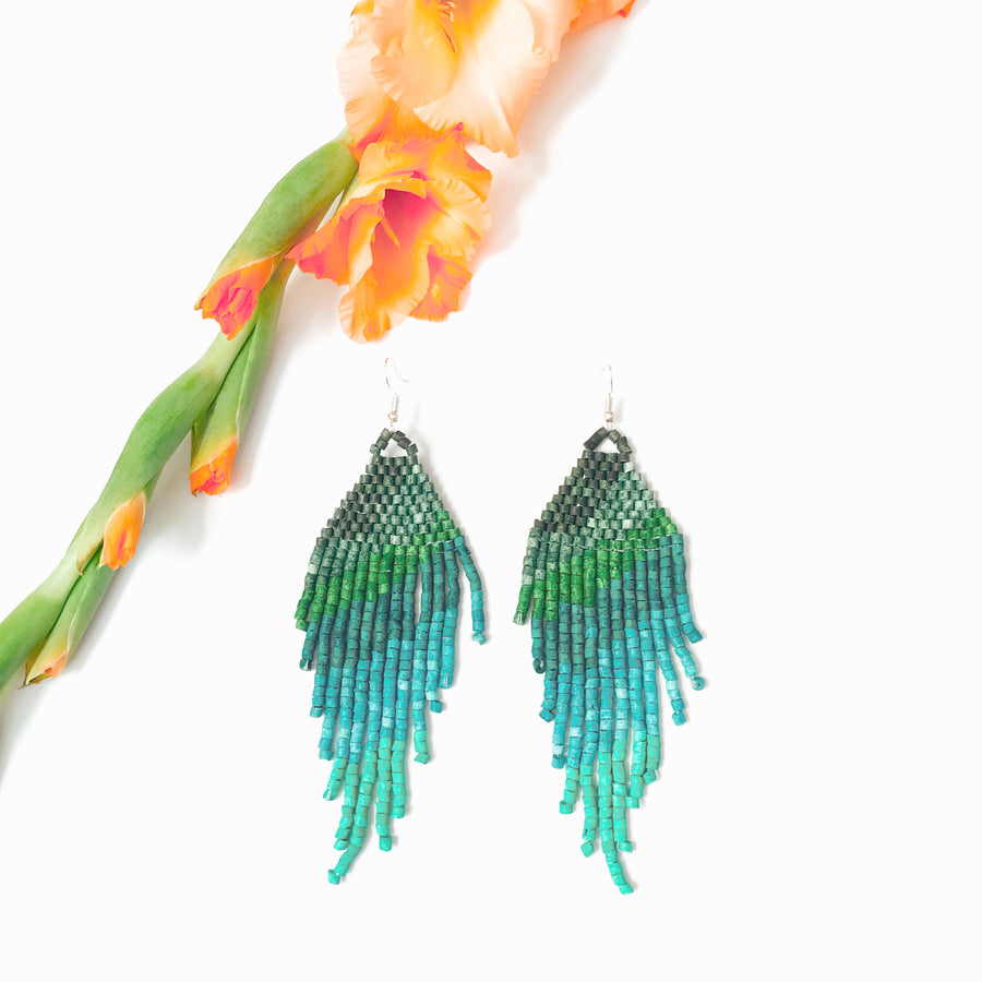Beaded Earrings ~ Turquoise Green Ombre