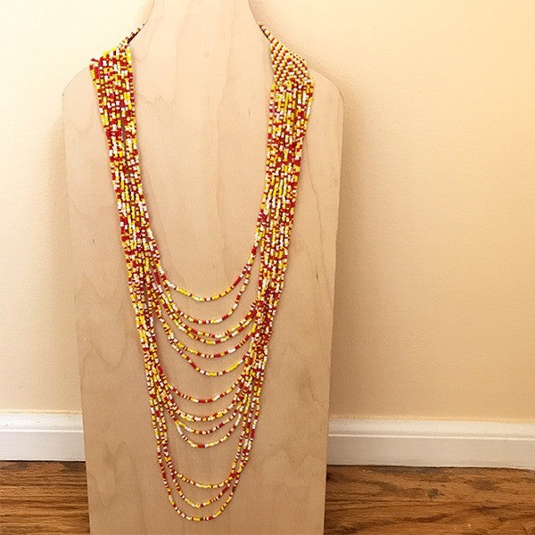 Viaje Glass Beaded Necklace Red + Yellow Multi