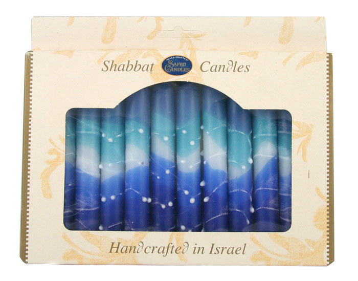 12 Shabbat Candles - Blue and White