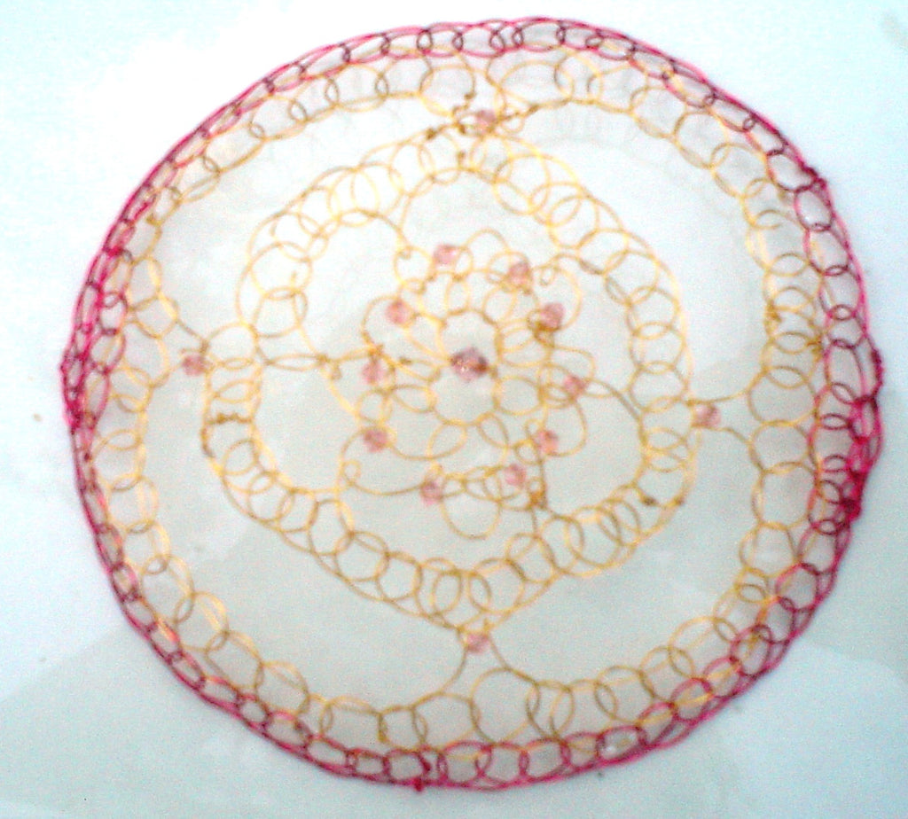 Red and Gold Renaissance Style Kippah with crystals