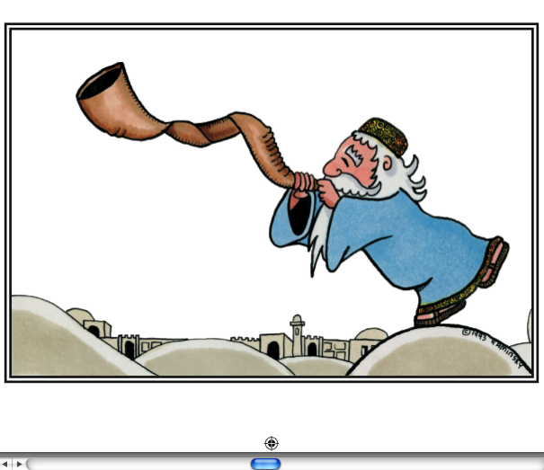 "High Holiday Greeting Card ""Rabbi With Shofar"""