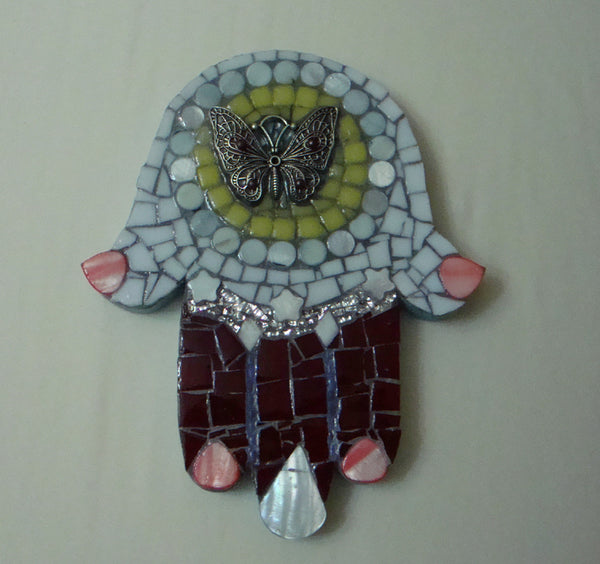 Mosaic Hamsa Wall Art Butterfly Wine Yellow White Coral Blue Original One of a kind