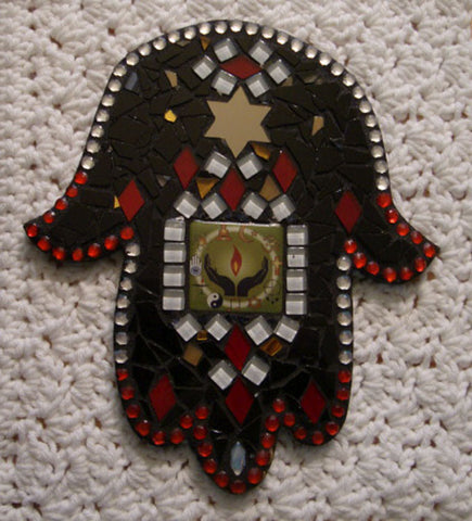 Stained Glass Mosaic Hamsa OOAK with CoExist Focal