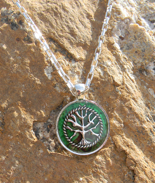 Tree of Life Pendant Necklace with Beautiful Green Tree Background