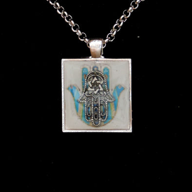 Hamsa with Star of David Necklace in Square Bezel on 18 inch silverplated chain with toggle clasp