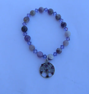 Dog Tooth Amethyst and Cyclamen Opal Crystal Bracelet with Crystal Embellished Tree of Life