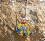Tree of Life Pendant with stain glass background in 1 1/4 inch round bezel with 18 inch sterling silver chain