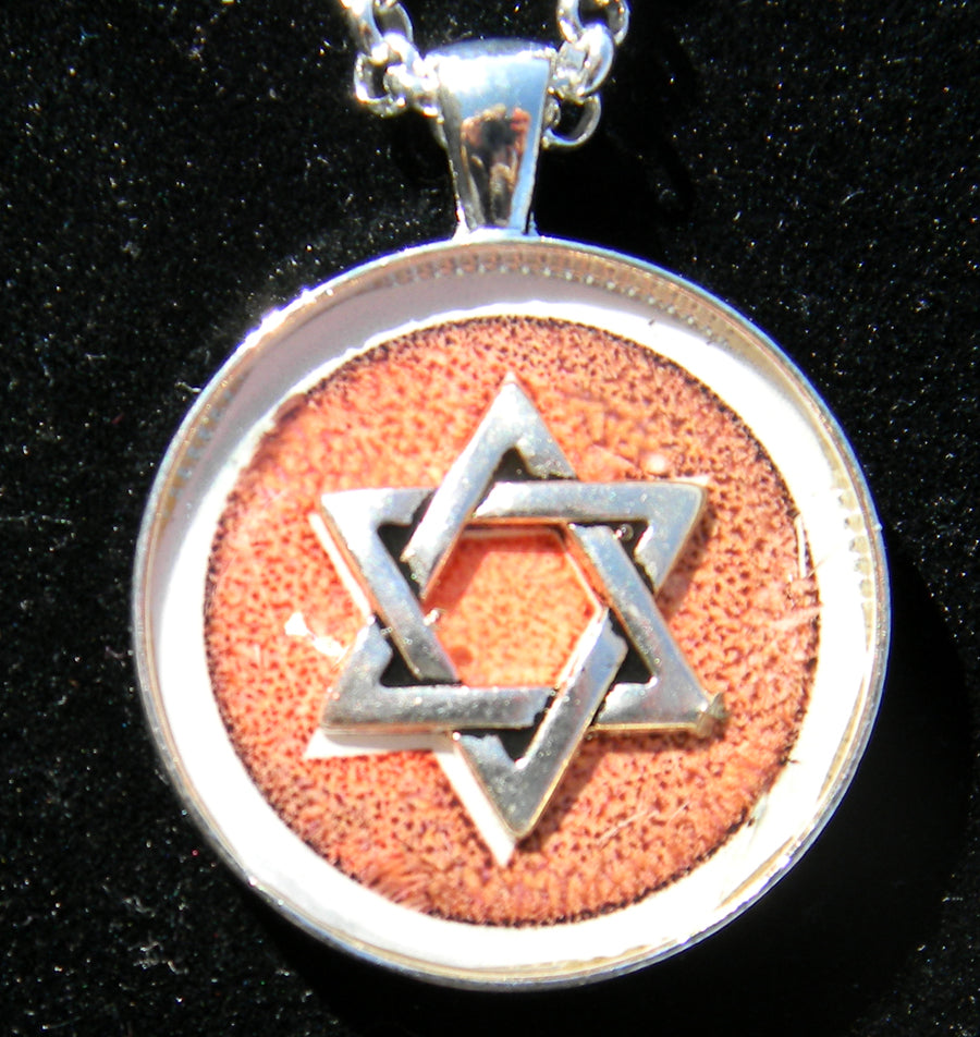 Star of David Pendant Necklace in Brown and Orange Tones on a 24 inch silver plated chain - one of a kind