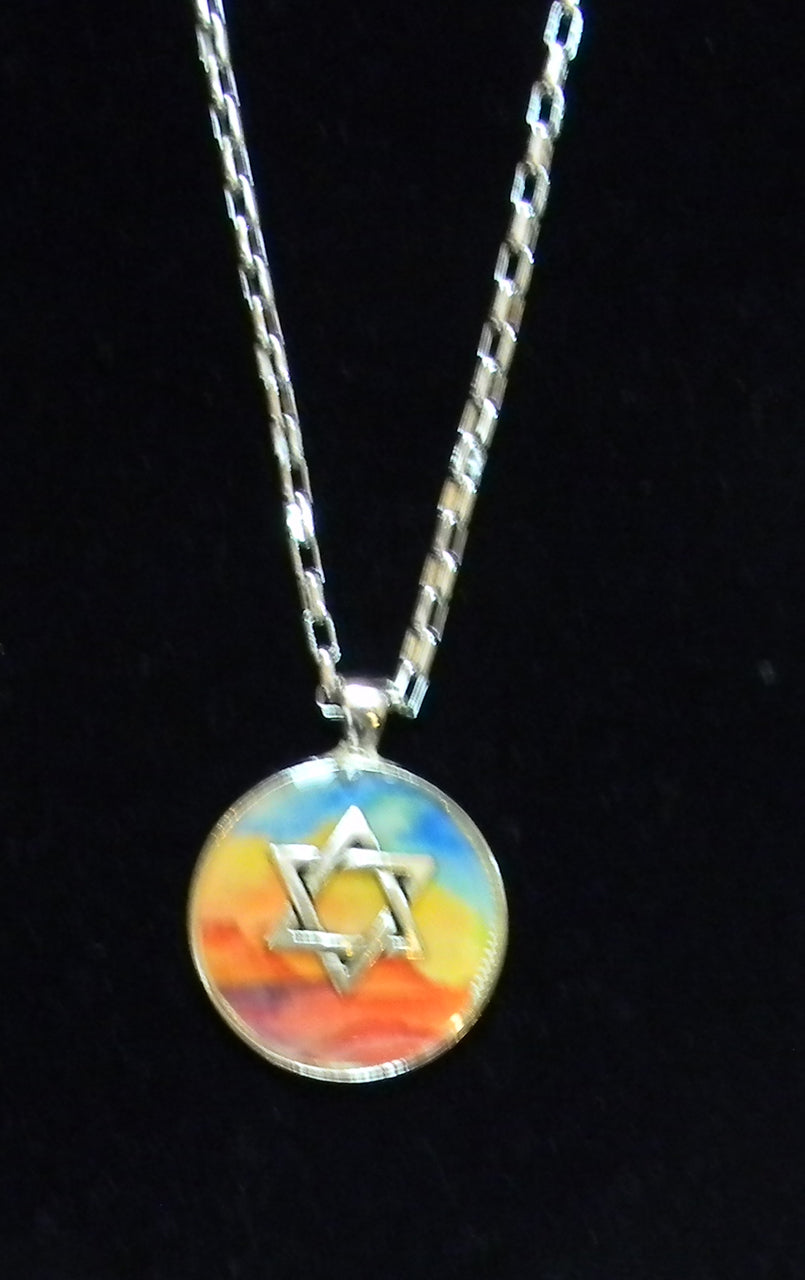 Star of David Pendant Necklace in colors of the rainbow.  On a 22 inch silverplated chain.