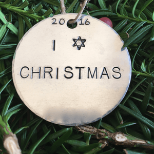 I Star of David Christmas Ornament/Chrismukkah/I love Christmas/I Star Christmas/Chrismukkah/Fusioned Family/Funny Ornament/Hanukkah Bush