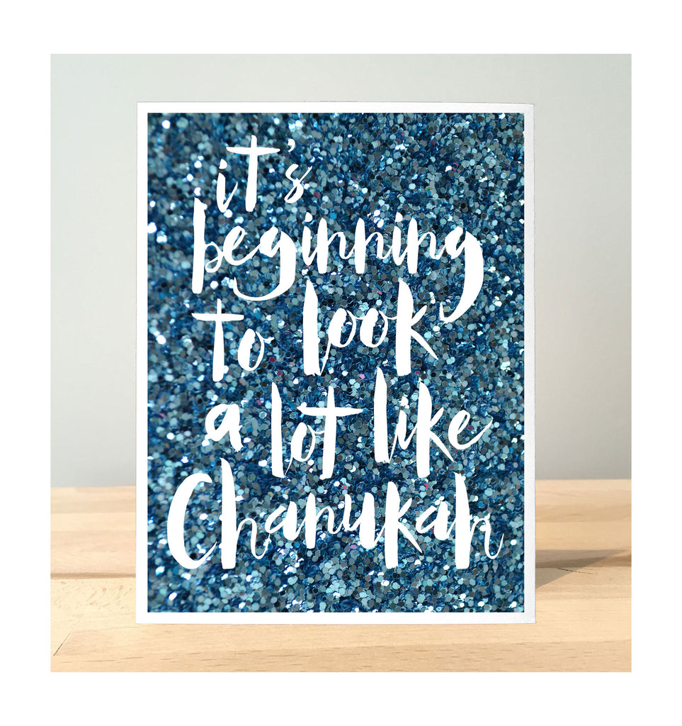 Chanukah Card - Stationery Notes - Glitter