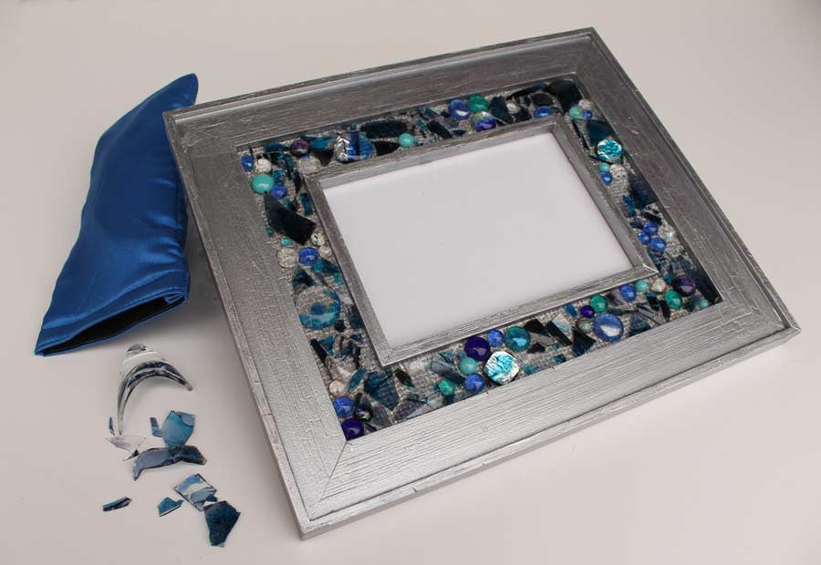 Wedding shards 5 x 7 frame with fused glass, initials, date, custom made