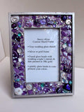 Wedding glass shard frame 8 x10 custom made, fused glass with date & initials