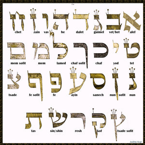 Alef Bet by Sandrine Kespi-Hebrew alphabet - Printable pdf - 17x17""