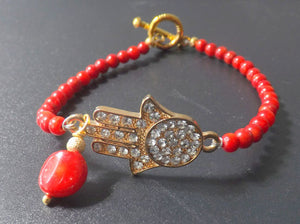 Red Coral bracelet with Hamsa