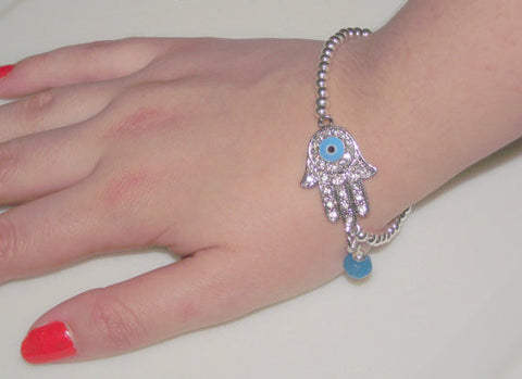 Blue Eye Hamsa Hand Bracelet with silver