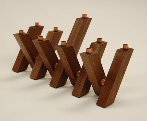 "Chanukah ""Switchback"" Menorah in Solid Walnut and Copper"