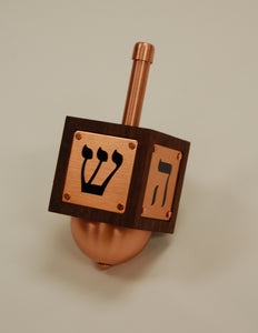 Modern Dreidel w/ Display Base, in Solid Walnut with Copper Details