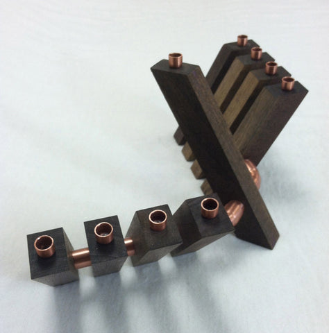 "Chanukah ""Outreach"" Menorah in Solid Walnut and Copper"