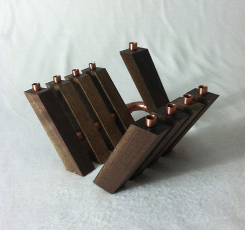 "Chanukah ""In-Line"" Menorah in Solid Walnut and Copper"