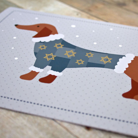 Hanukkah Sweater Dog Greeting Card