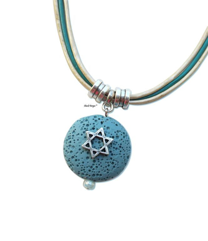 Silver Star of David on Turquoise pendant leather necklace for Jewish jewelry Bat Mitzva gift