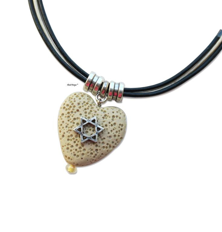 Silver Star of David natural Heart stone pendant necklace for Bath Mitzva gift Jewish jewelry