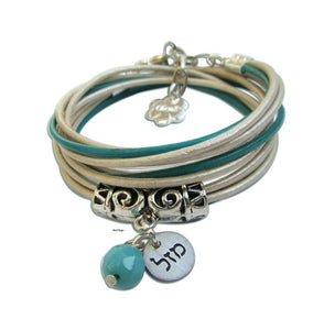 Silver MAZAL with turquoise leather wrap bracelet Jewish jewelry