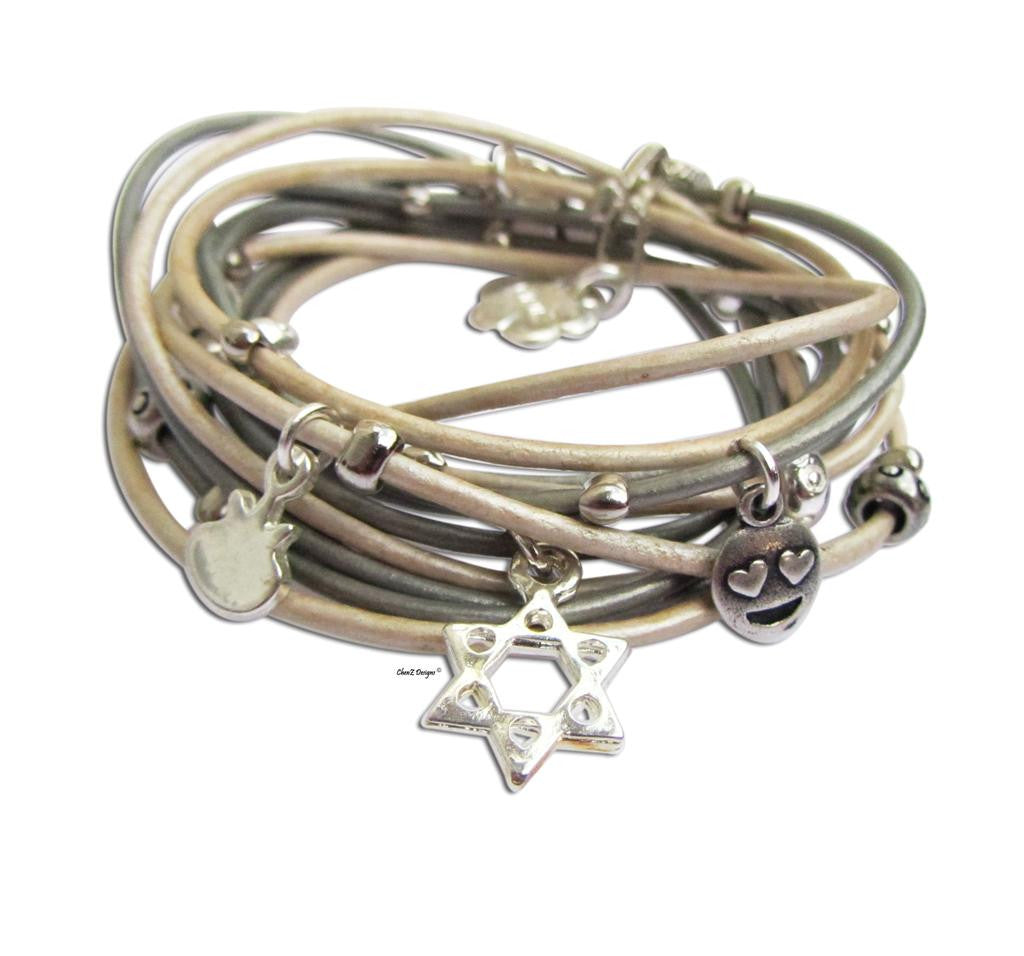 Silver Star of David Judaica leather wrap bracelet