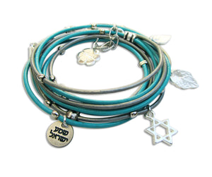 Silver Star of David, Hamsa, God Bless you womens Jewish wrap bracelet