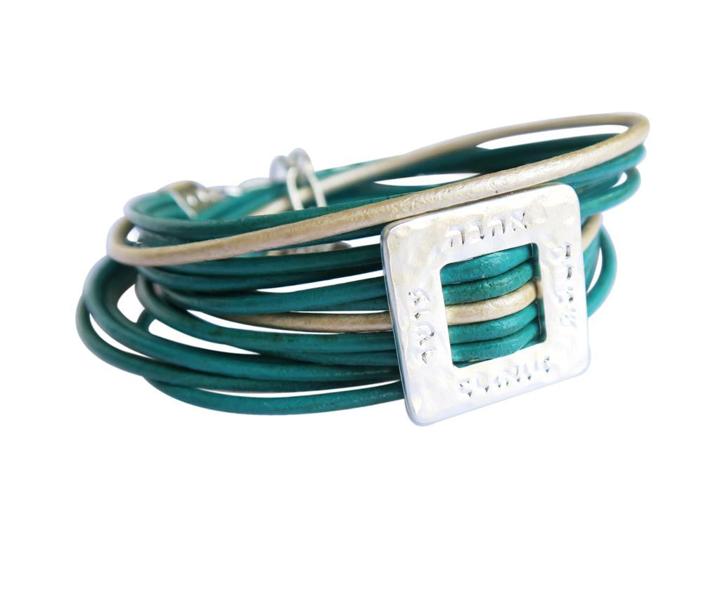 Silver Jewish Blessings turquoise leather wrap bracelet
