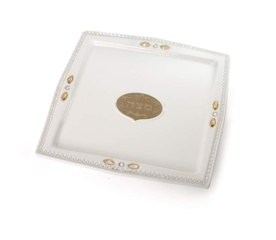 Ceramic Matzah Tray With Zircon Stones