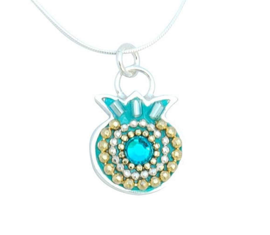 Turquoise Pomegranate Necklace by Israeli Artist Ester Shahaf